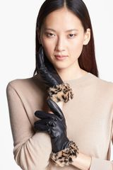 Surell Leather Gloves with Faux Fur Cuffs - Lyst