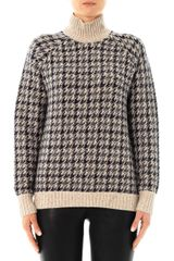 Theory Houndstooth Wool Knit Sweater - Lyst