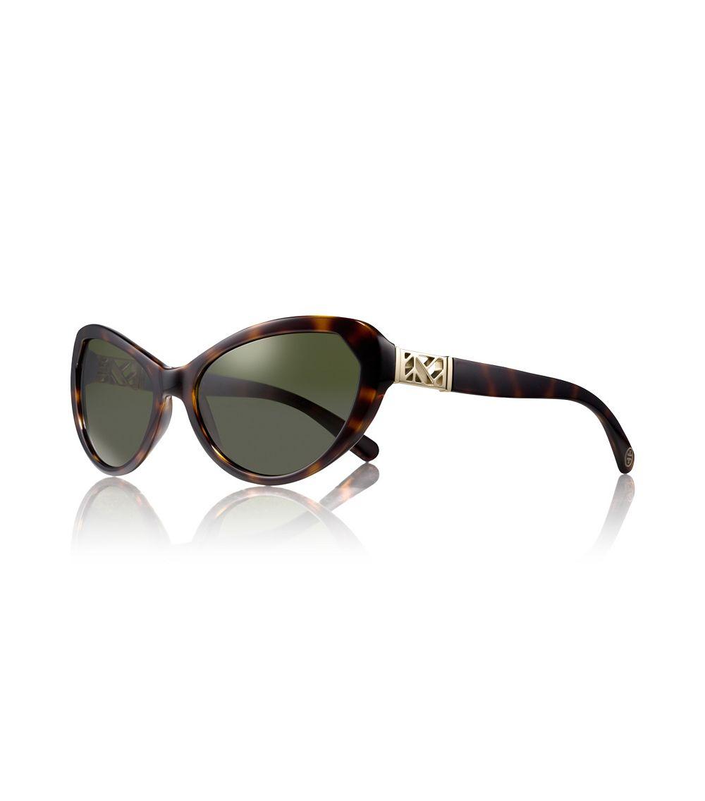 Lyst - Tory burch Cateye Fretwork Sunglasses in Black