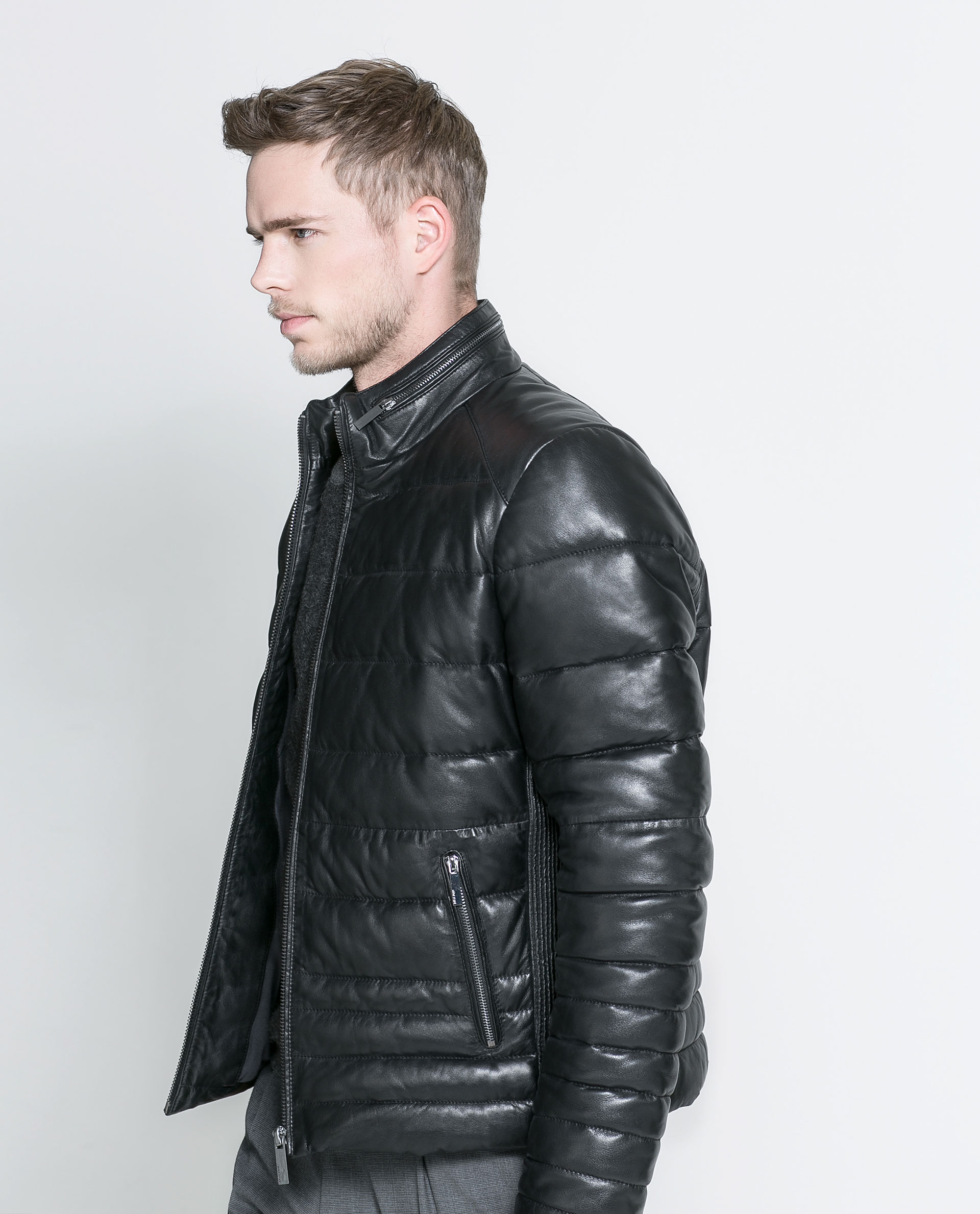 Zara Quilted Leather Jacket in Black for Men | Lyst