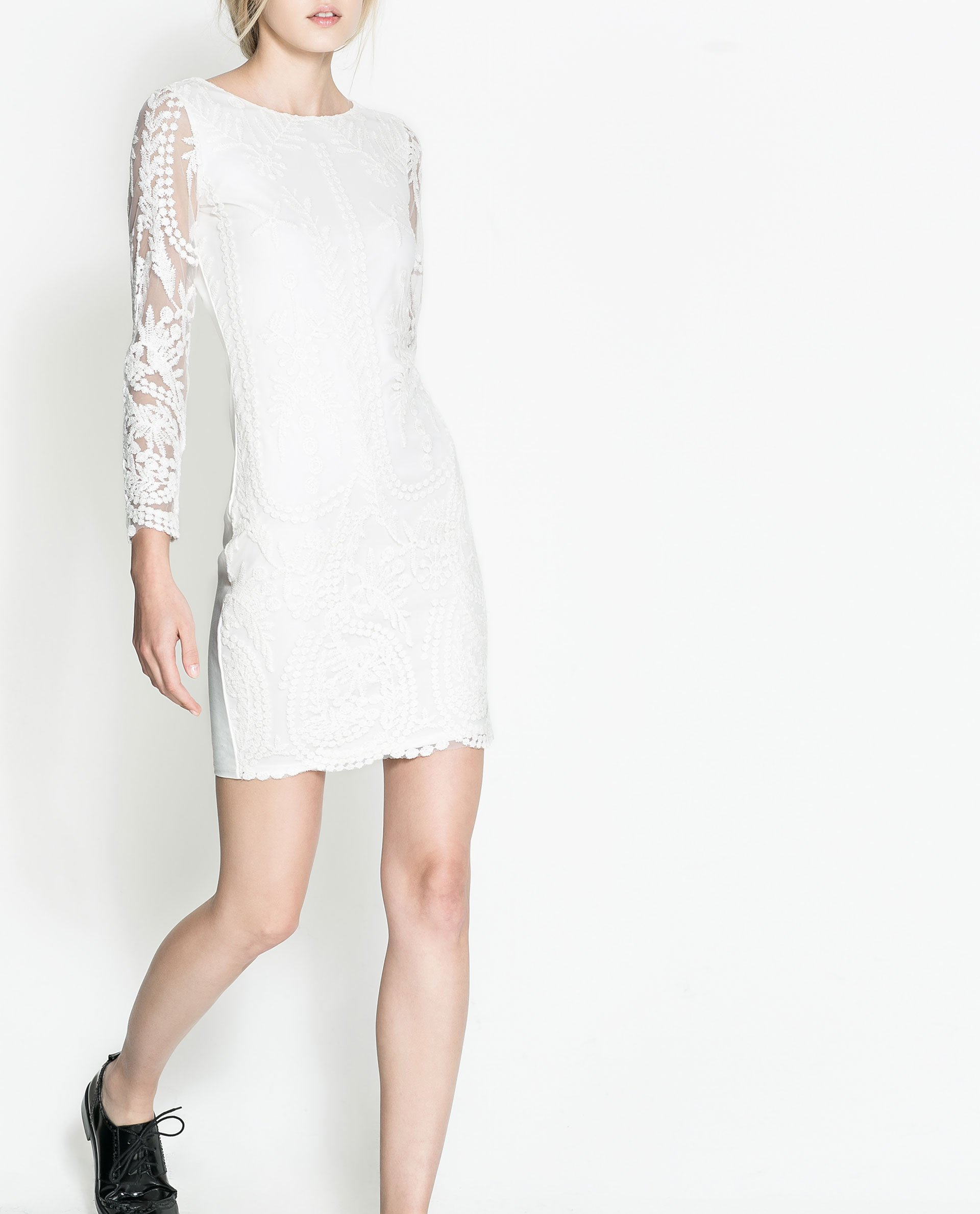 Zara embroidered dress in white lyst