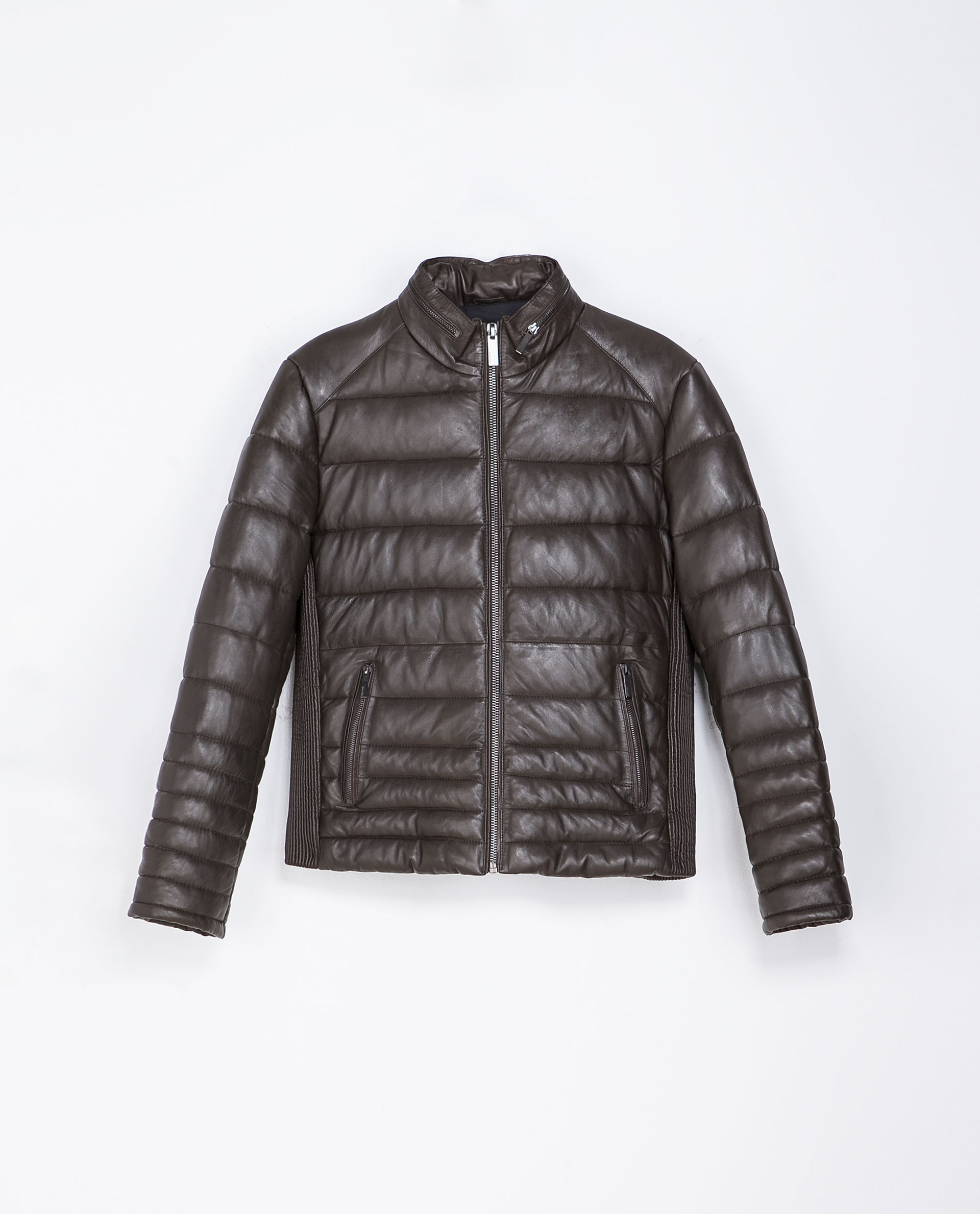 Zara Quilted Leather Jacket In Gray For Men Lyst