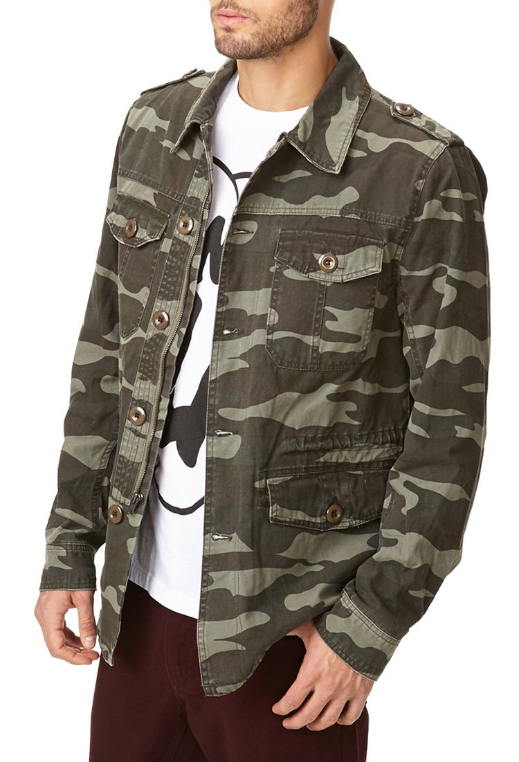 Forever 21 Camo Print Utility Jacket in Green for Men | Lyst