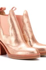 Acne Star Metallic Leather Ankle Boots - Lyst