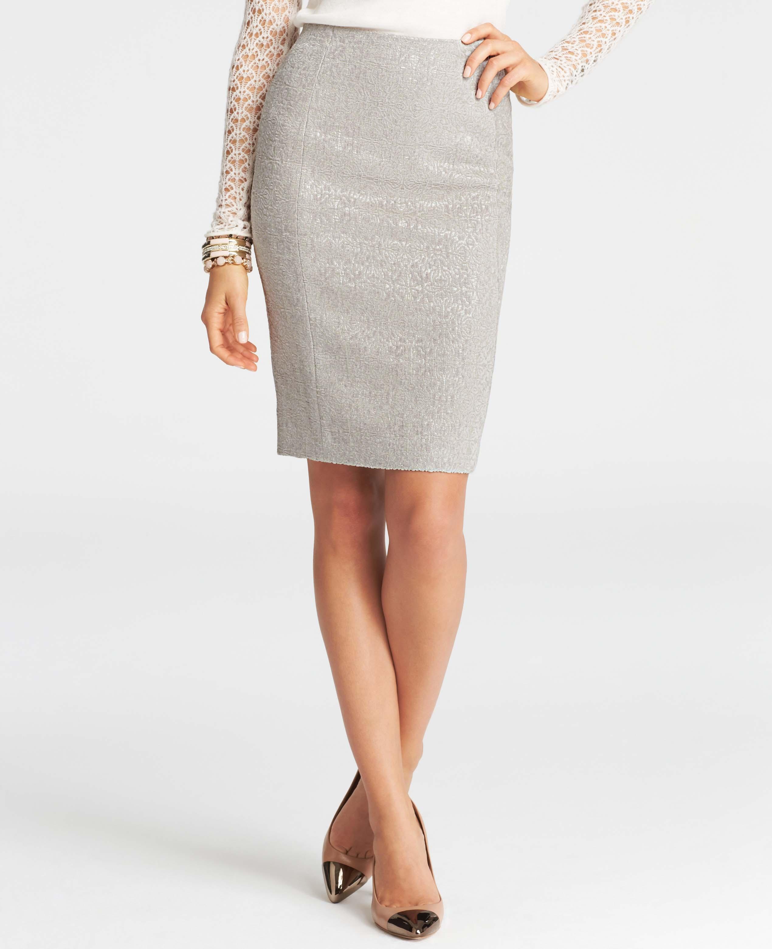 mosaic jacquard pencil skirt in white winter