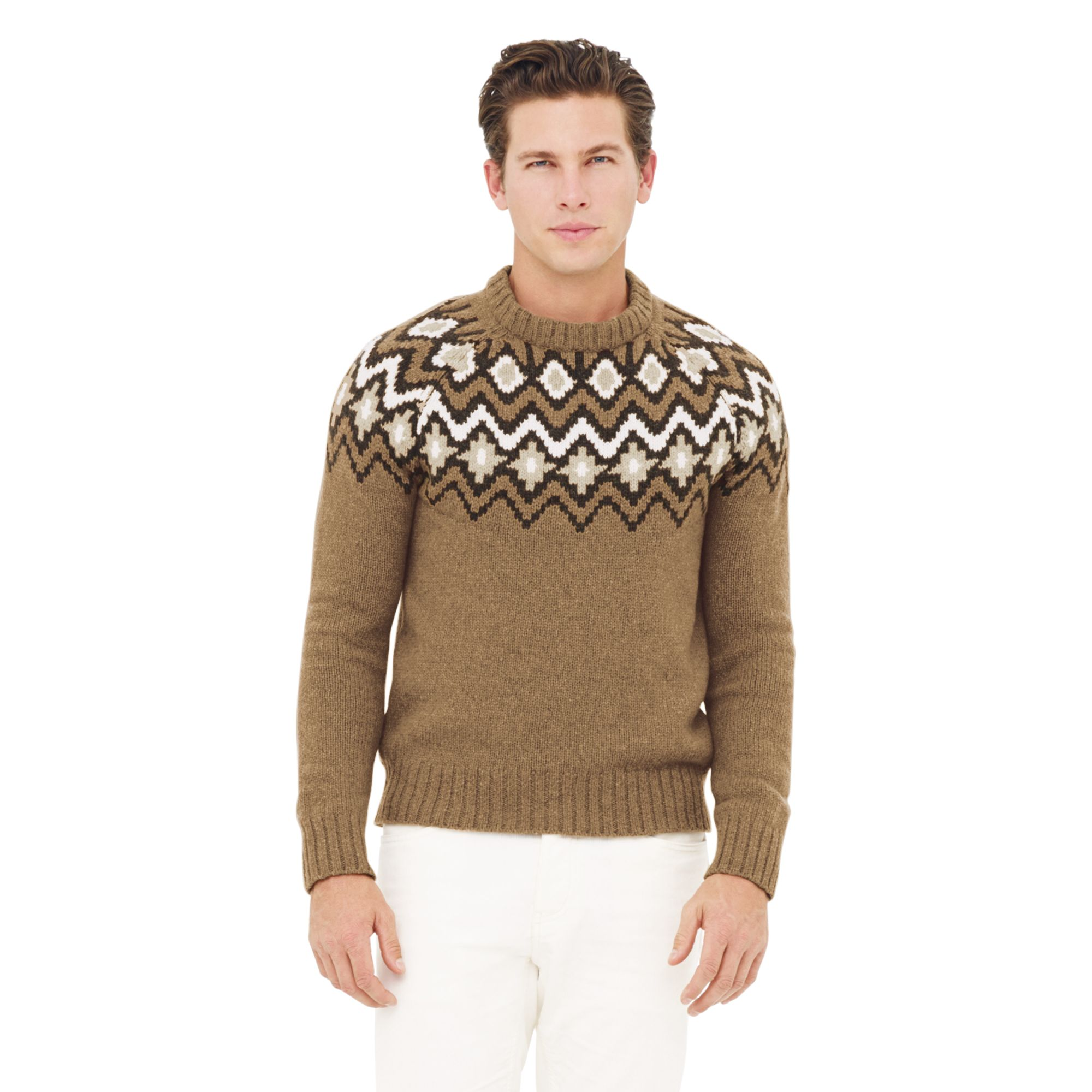 Club monaco Icelandic Fairisle Sweater in Brown for Men | Lyst