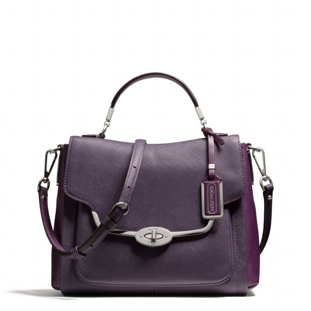 lyst coach madison spectator small sadie flap satchel in saffiano leather in purple. Black Bedroom Furniture Sets. Home Design Ideas