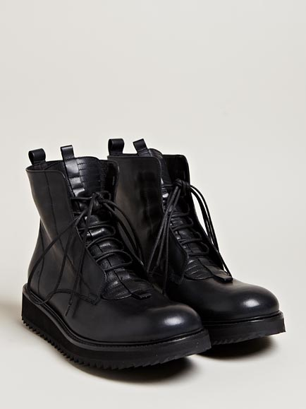 Damir doma Mens Fusco Leather Lace Up Boots in Black for Men | Lyst