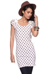 Forever 21 Rosette Slv Polka Dot Dress - Lyst
