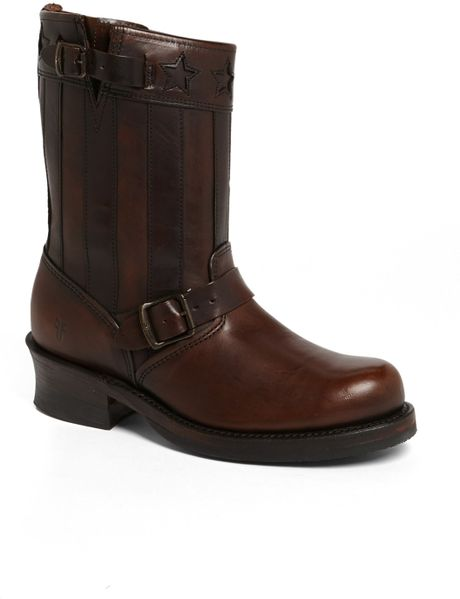 frye americana engineer boot in brown for brown