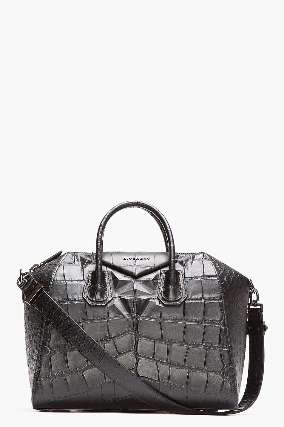 b3f29069da Givenchy Black Leather Croc Embossed Antigona Duffle Bag in Gray - Lyst