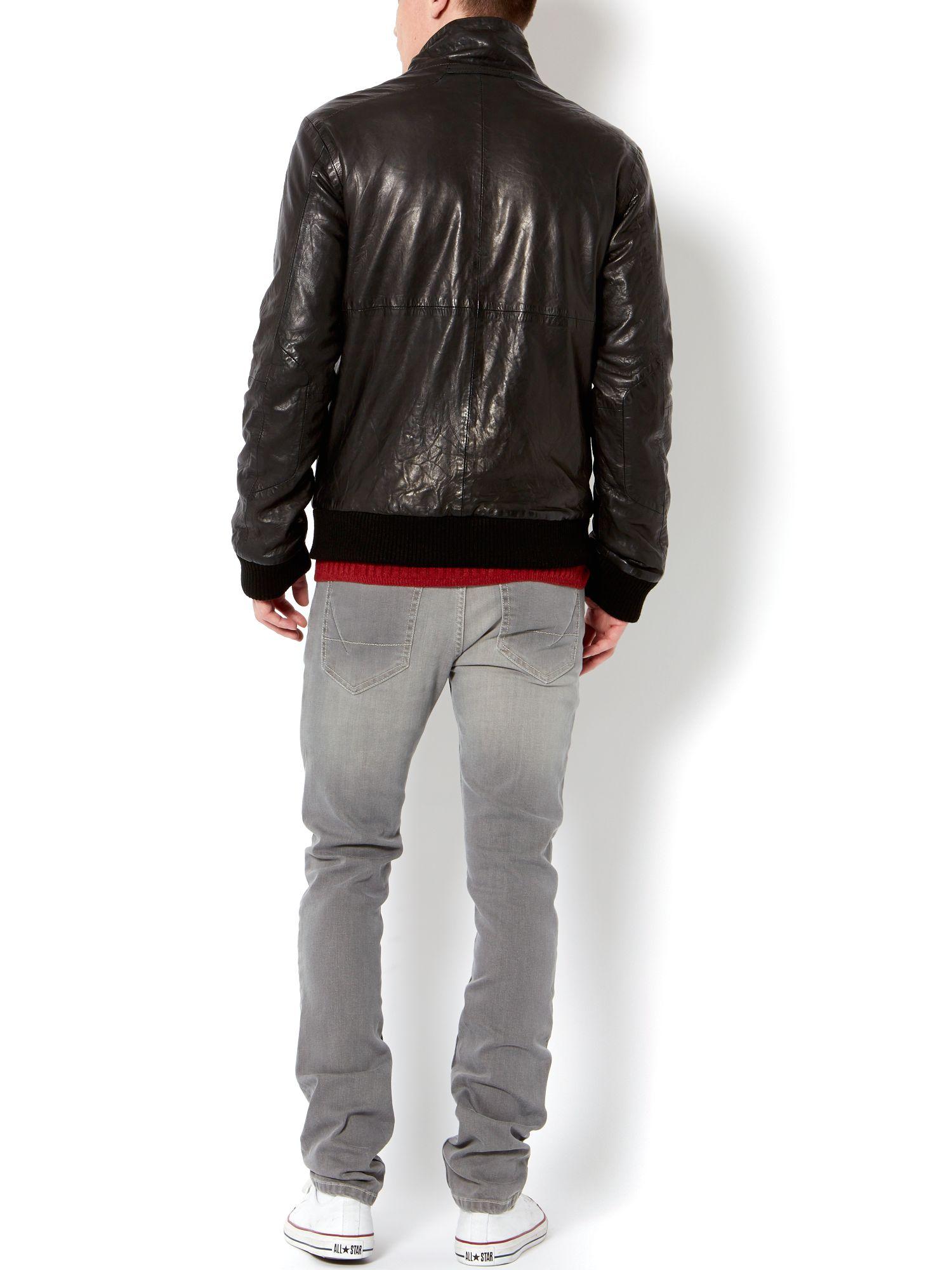 Label lab Valens Leather Bomber Jacket in Black for Men