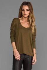Michael Stars Scoop Neck Sweater in Olive - Lyst