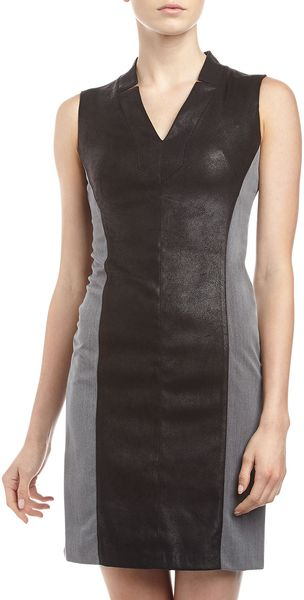 Muse Faux Suede Panel Dress Black Gray - Lyst