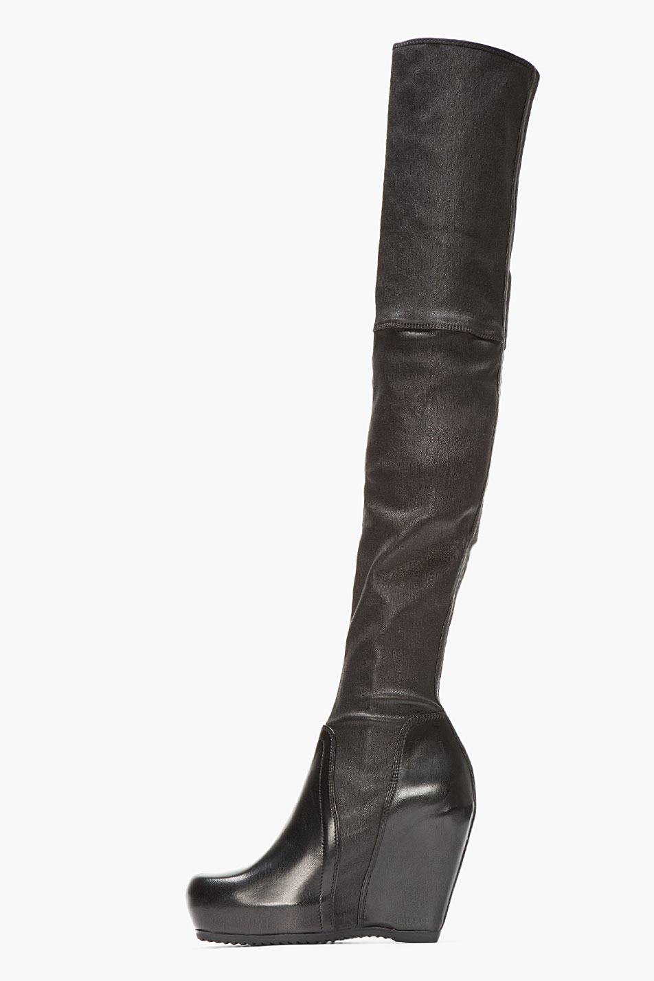 Rick Owens Leather Over-The-Knee Wedge Boots best sale cheap online d3XWEnN70S