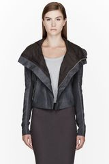 Rick Owens Grey Clean Soft Blister Biker Jacket - Lyst