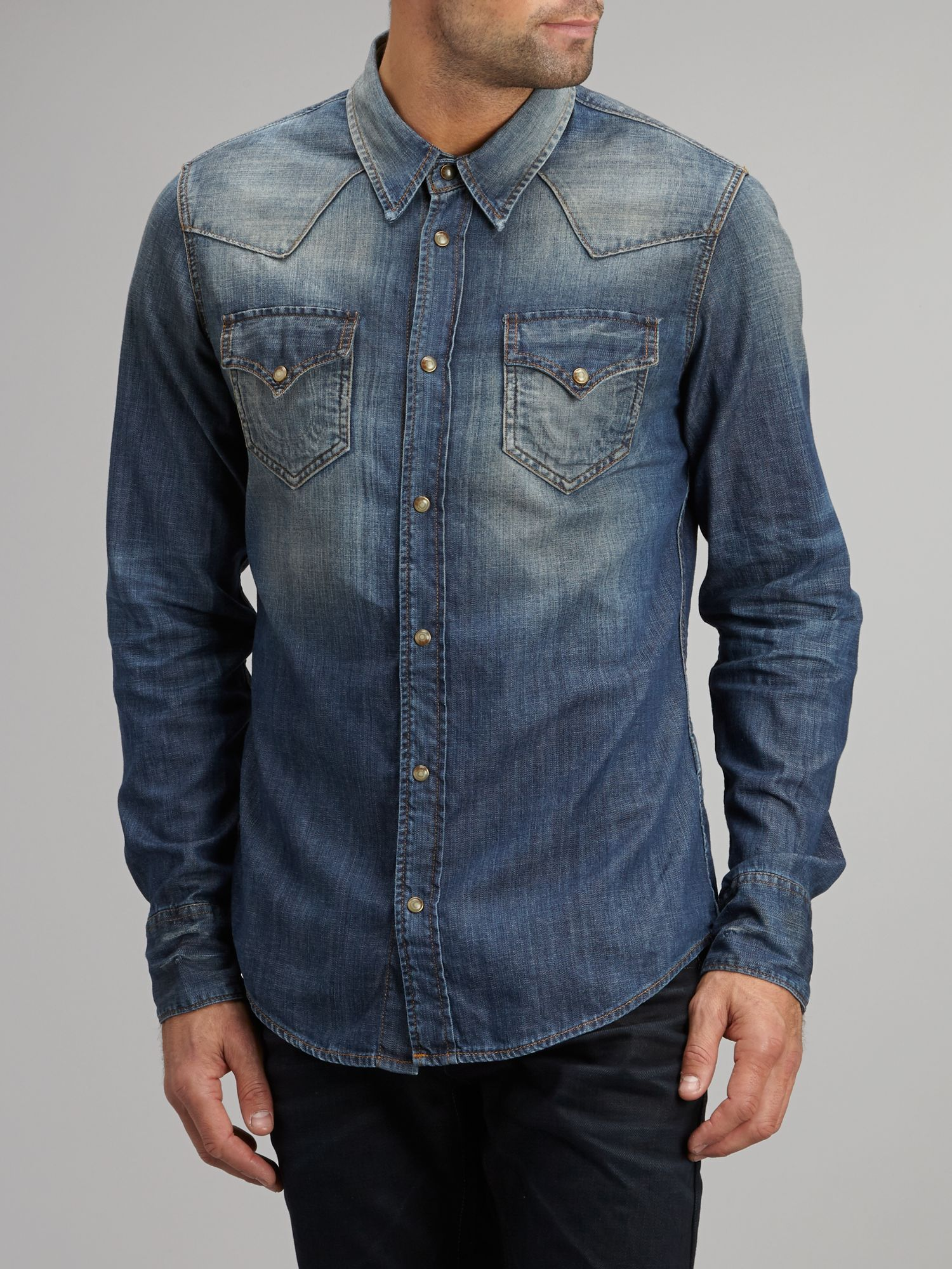 true religion denim shirt in blue for men denim lyst