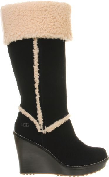 ugg aubrie wedge shearling knee boot in black lyst