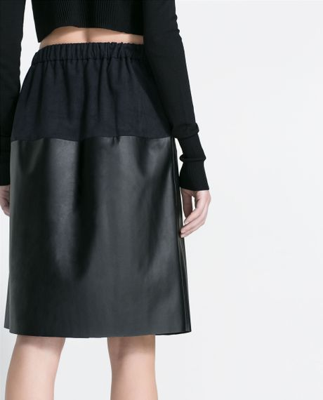 zara faux leather combination skirt in black lyst