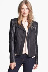 Andrew Marc Mixed Leather Moto Jacket - Lyst