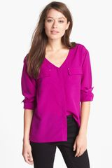 Anne Klein V Neck Shirt - Lyst
