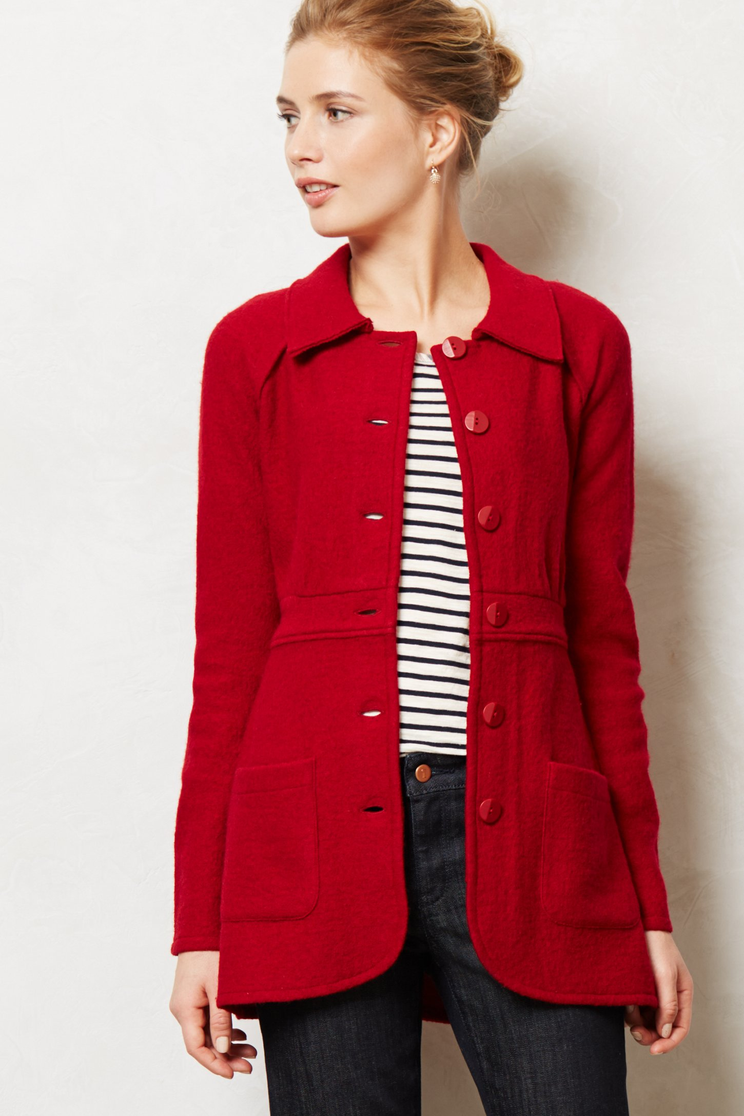 Anthropologie Tulip Riding Coat in Red | Lyst