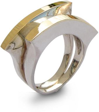 Arosha Luigi Taglia Double Moon Ring in Sterling Silver and Gold - Lyst