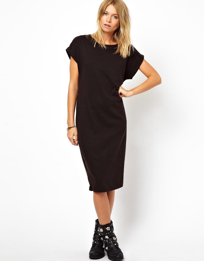 Lyst asos midi tshirt dress in acid wash with cross back for Midi shirt dress black