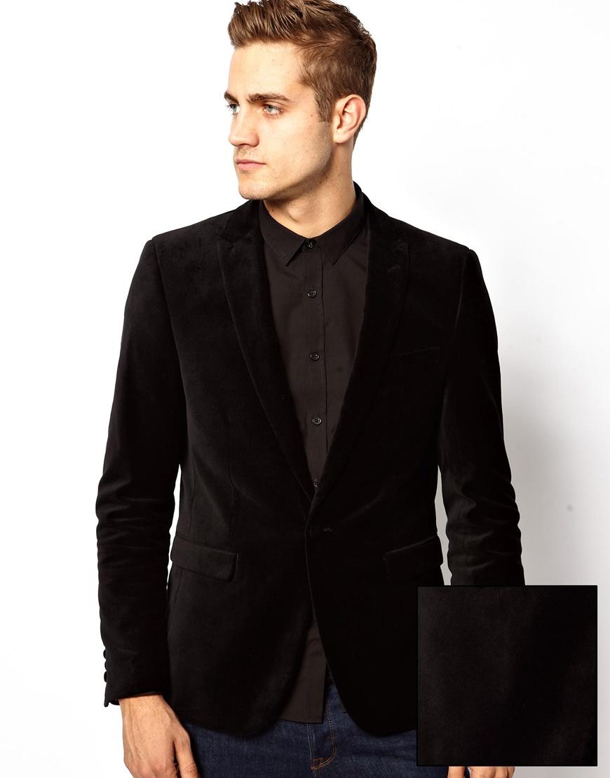 asos asos slim fit blazer in velvet in black lyst. Black Bedroom Furniture Sets. Home Design Ideas