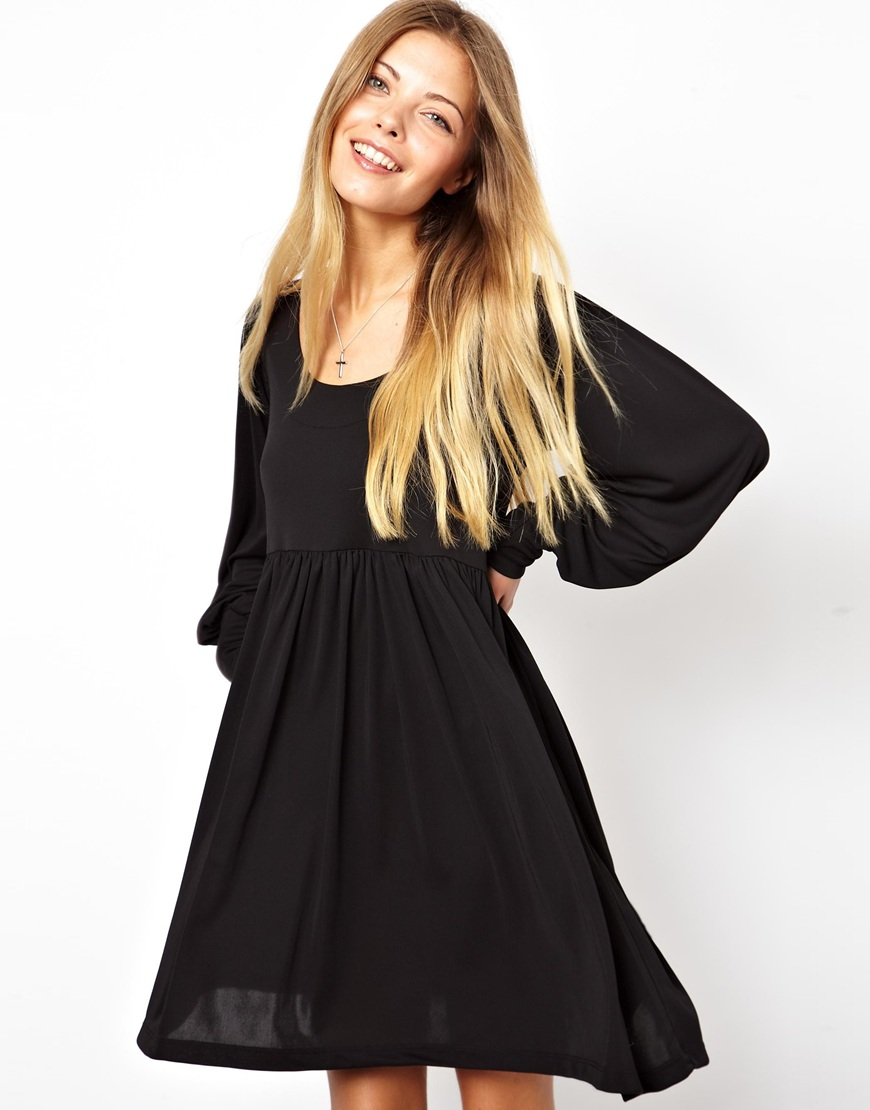 Lyst Asos Smock Dress In Crepe With Long Sleeves In Black