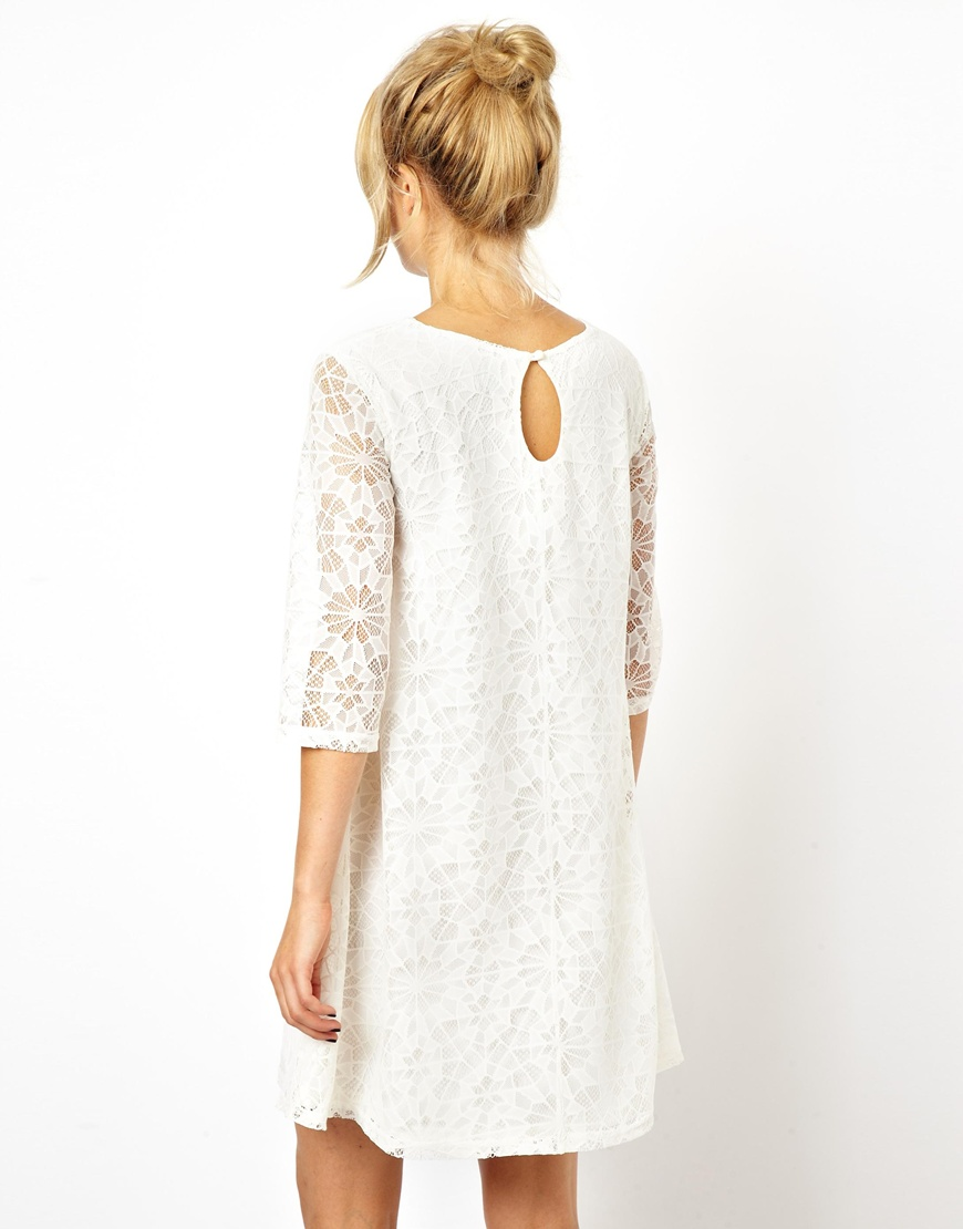 2ccc4c6aac66 ASOS Swing Dress in Lace with Half Sleeve in Natural - Lyst