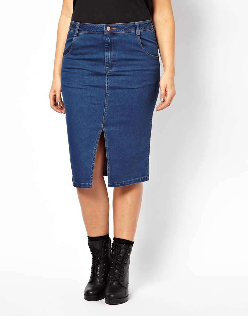 Asos Denim Skirt with Split Front in Blue | Lyst