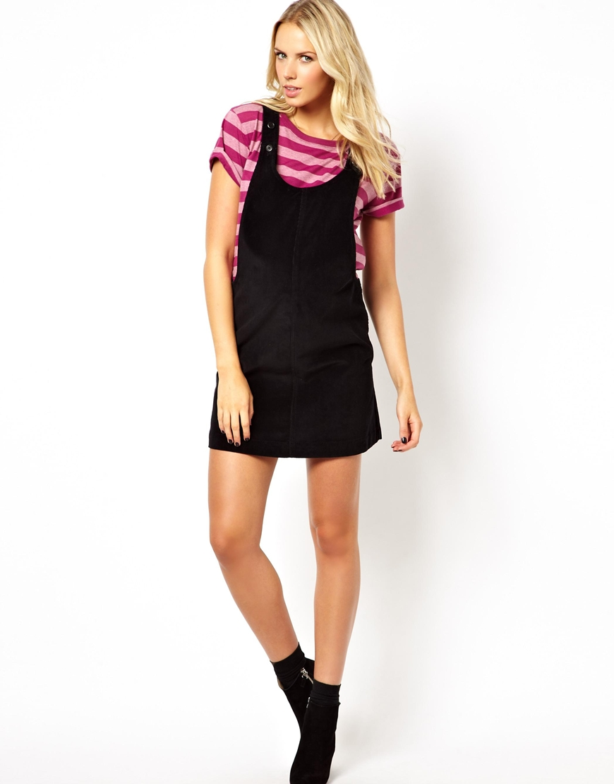 Asos pinafore dress in cord in black lyst gallery ombrellifo Image collections