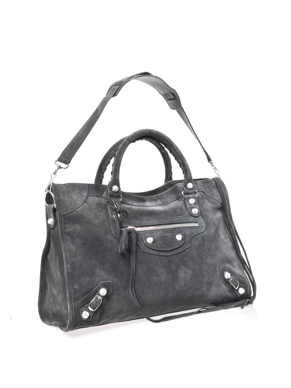 lyst balenciaga suede marble stud city bag in gray. Black Bedroom Furniture Sets. Home Design Ideas