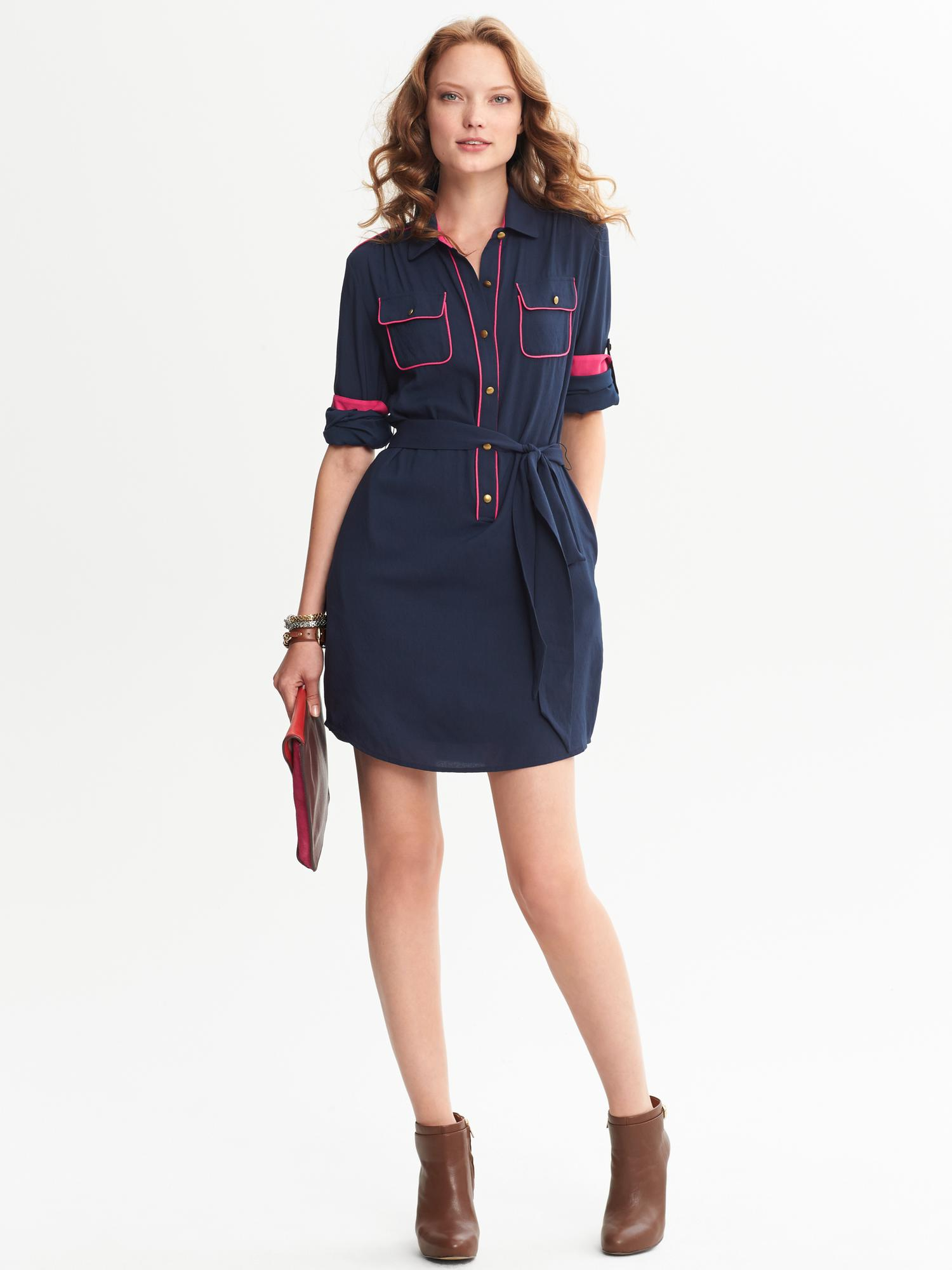 68bd9463ceb Lyst - Banana Republic Piped Shirtdress Navy Base Blue in Blue