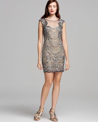 Basix Scalloped Trimmed Beaded Dress - Lyst