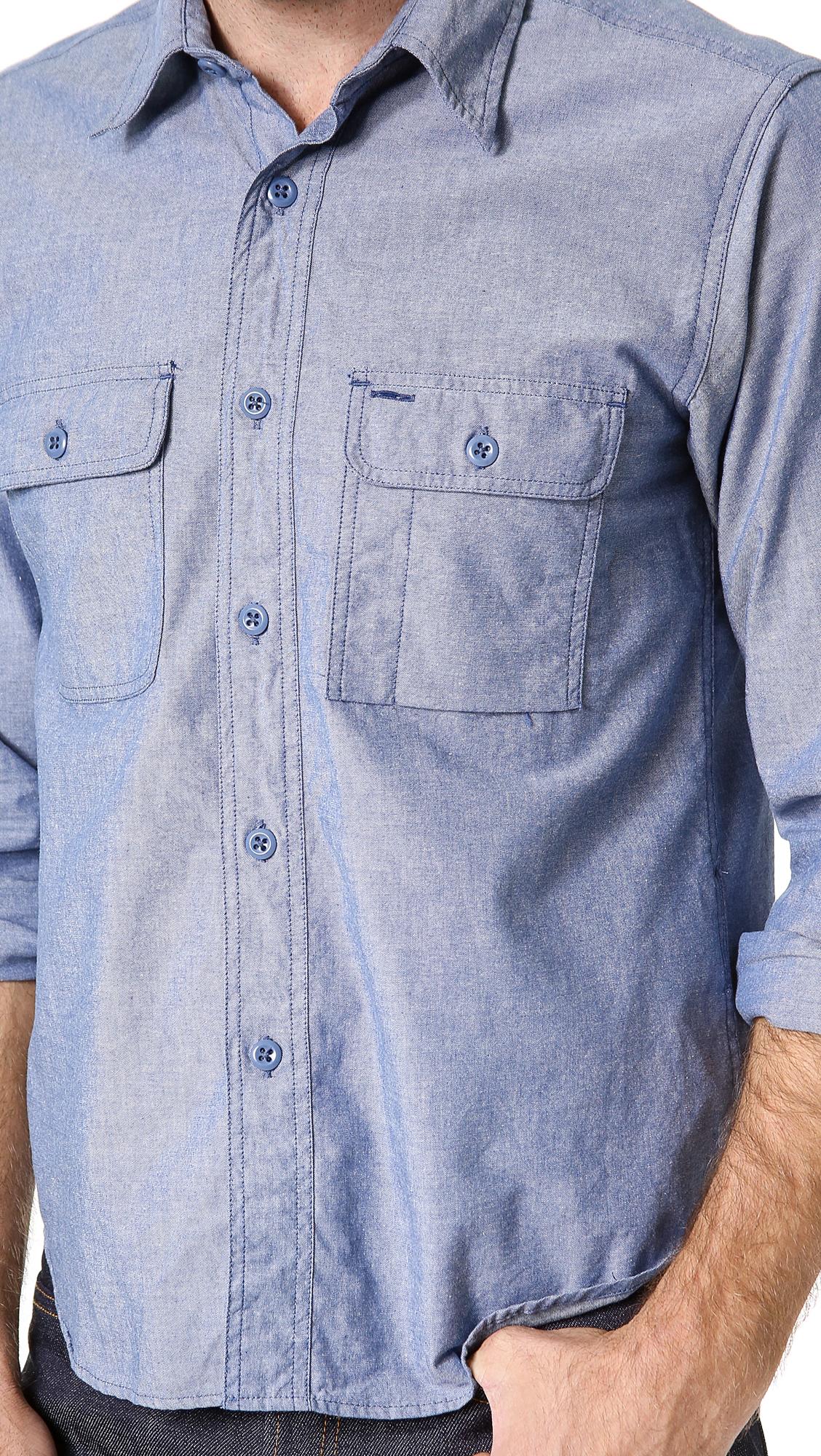 Lyst battenwear chambray work shirt in blue for men for Light blue work shirt
