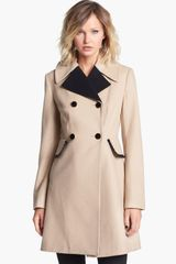 Betsey Johnson Ruffle Trim Double Breasted Coat - Lyst