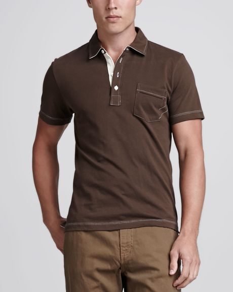 Billy Reid Pensacola Polo Shirt Brown In Brown For Men Lyst