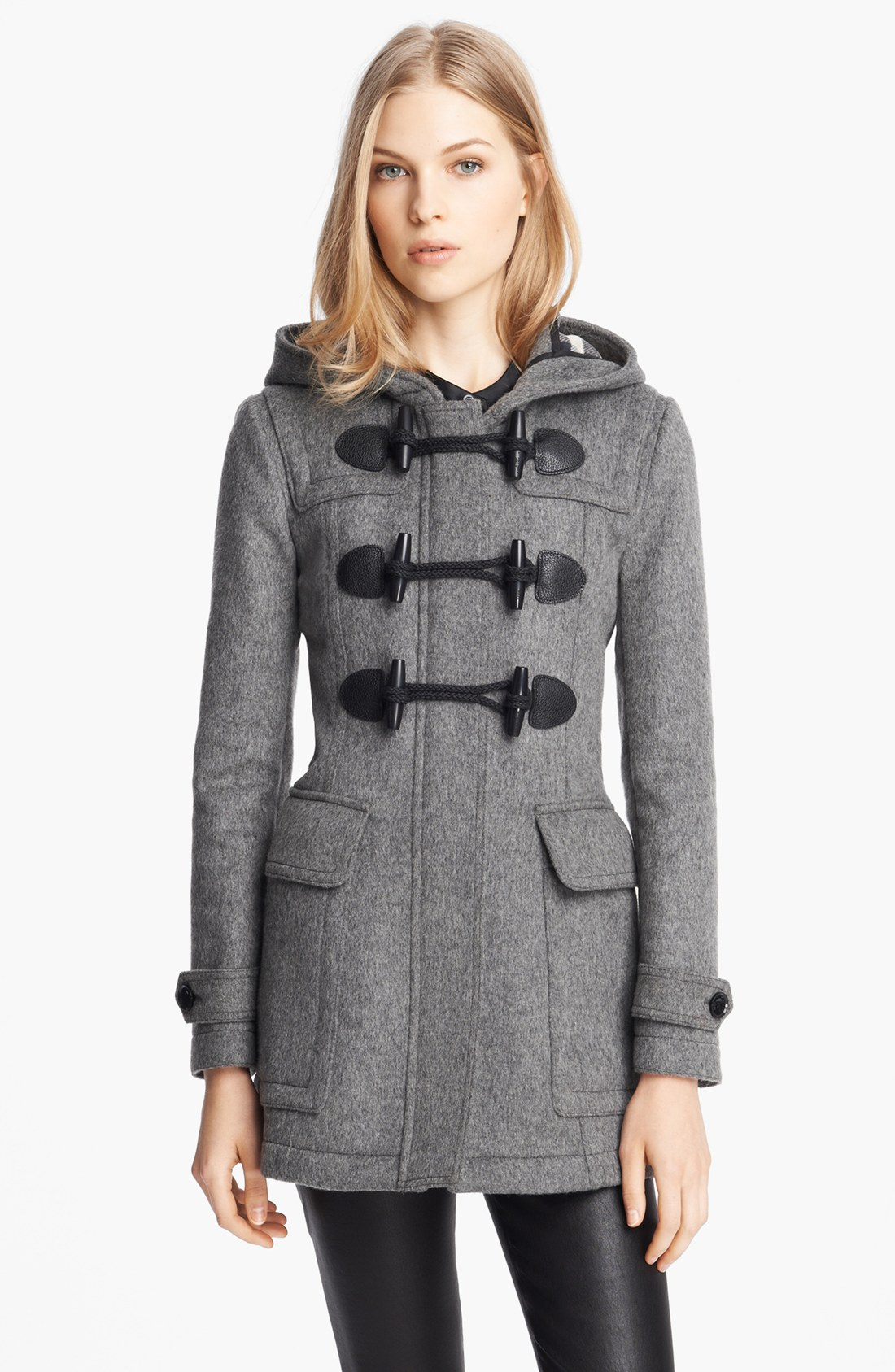 Burberry brit Blackwell Wool Duffle Coat in Gray | Lyst