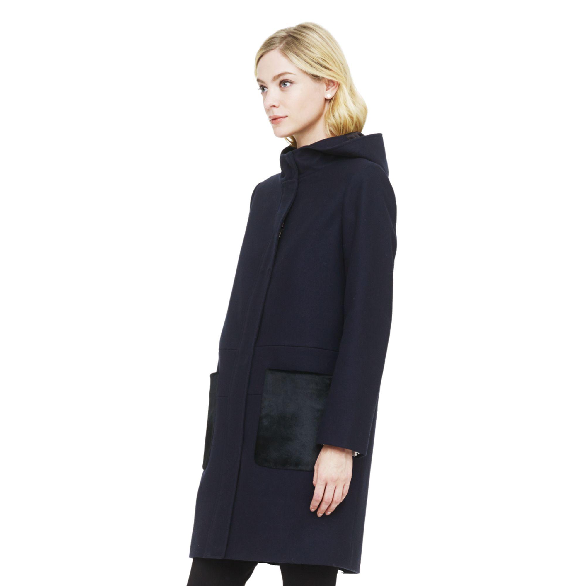 Club monaco Ryan Hooded Wool Coat in Black | Lyst