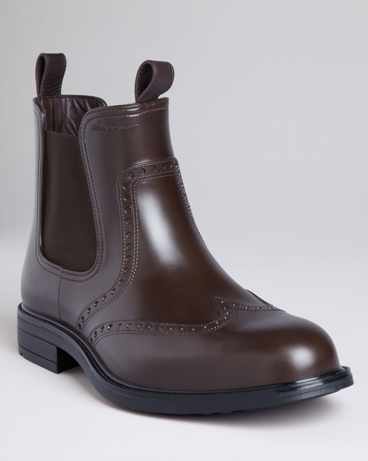 Ferragamo Boston Wingtip Boots In Brown For Men Hickory