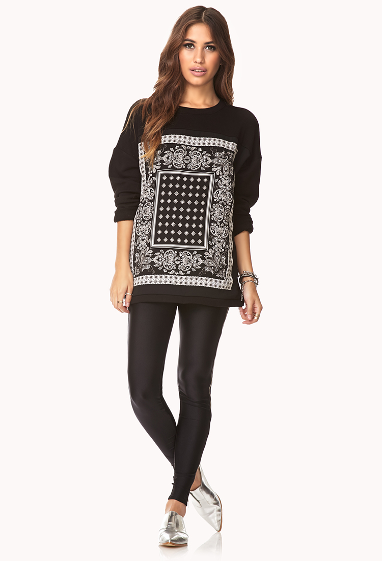 lyst forever 21 scarf print sweatshirt in black. Black Bedroom Furniture Sets. Home Design Ideas