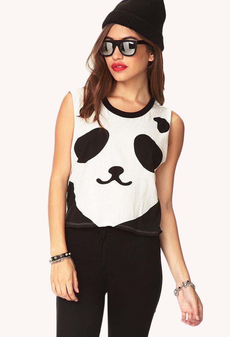 a1894e0e9b Lyst - Forever 21 Panda Crop Top in White