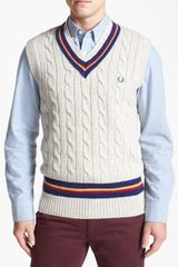 Fred Perry Cable Knit Wool Sweater Vest - Lyst