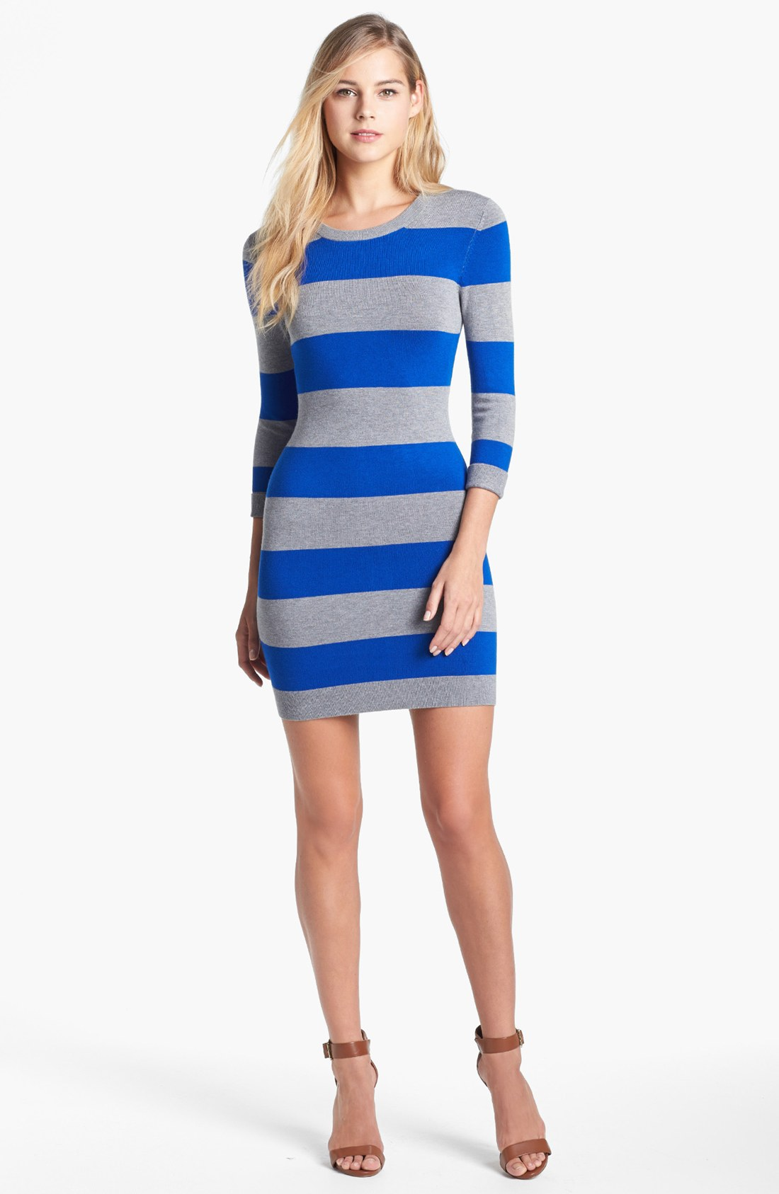 Blue Striped Sweater Dress - black dress pants