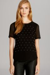 Karen Millen Studded Silk Top - Lyst