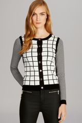 Karen Millen Check Knit Collection Cardigan Bloomingdales Exclusive - Lyst