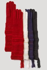 Lauren by Ralph Lauren Ribbon Texture Gloves - Lyst