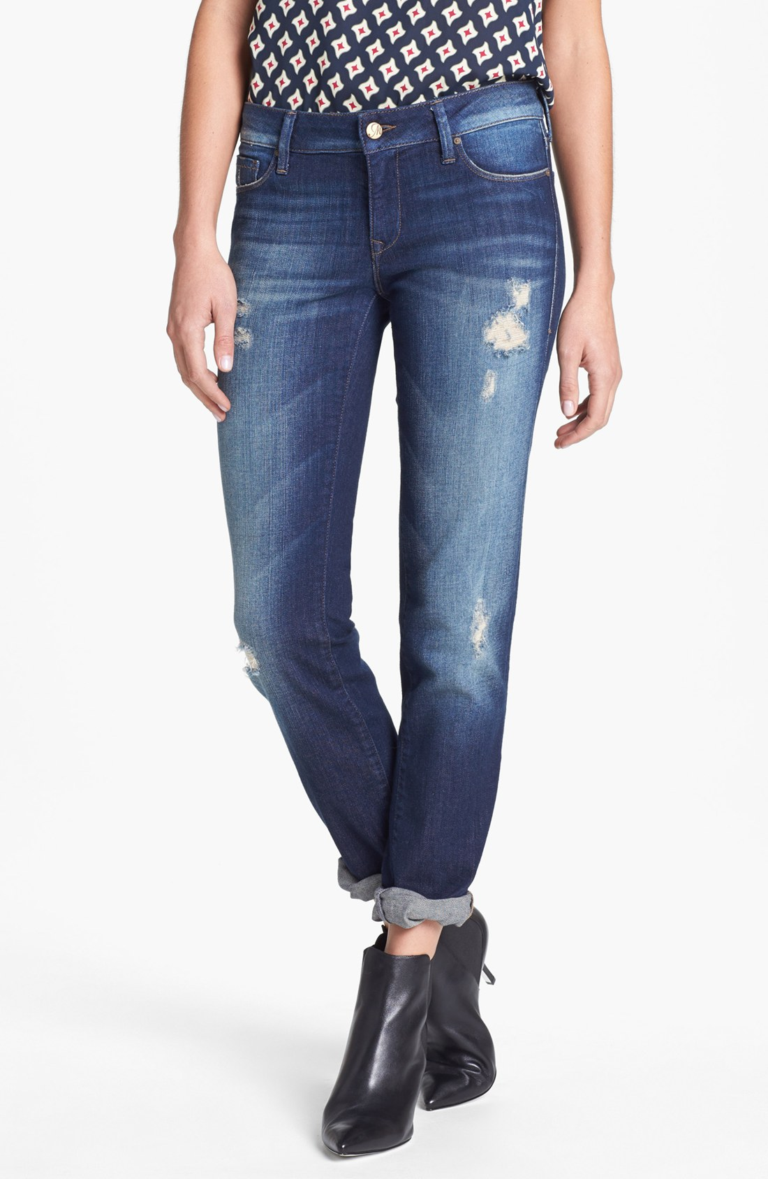 mavi jeans emma slim fit boyfriend jeans in blue vintage. Black Bedroom Furniture Sets. Home Design Ideas